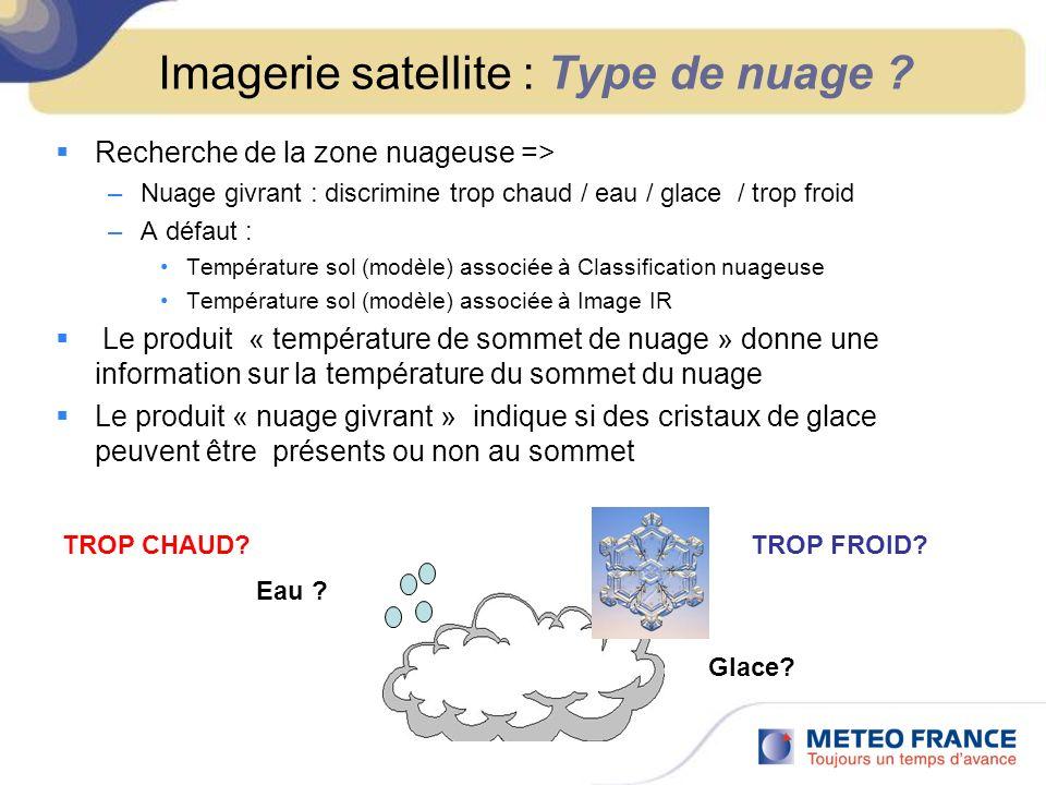 Imagerie satellite : Type de nuage ? Recherche de la zone nuageuse => –Nuage givrant : discrimine trop chaud / eau / glace / trop froid –A défaut : Te