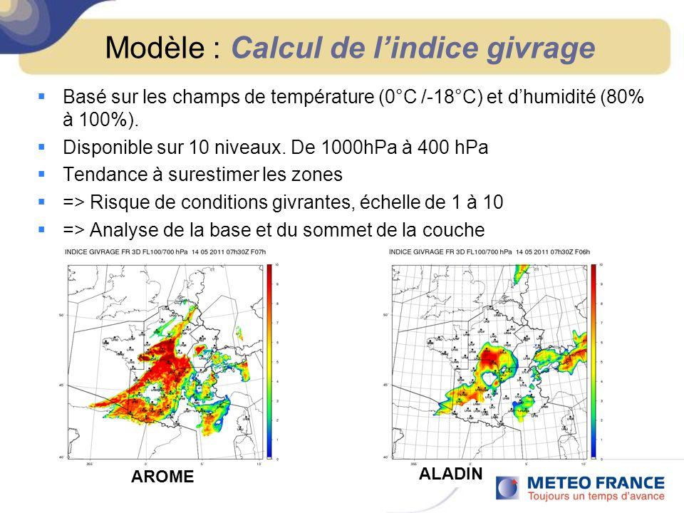 Modèle : Calcul de lindice givrage Basé sur les champs de température (0°C /-18°C) et dhumidité (80% à 100%). Disponible sur 10 niveaux. De 1000hPa à