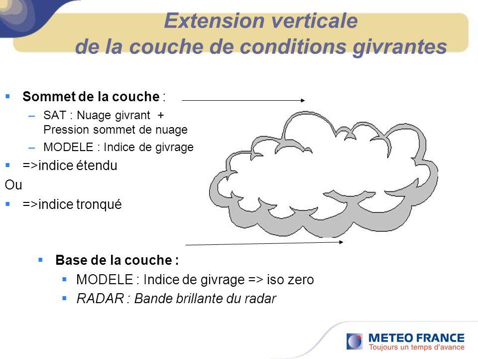 Extension verticale de la couche de conditions givrantes Sommet de la couche : –SAT : Nuage givrant + Pression sommet de nuage –MODELE : Indice de giv