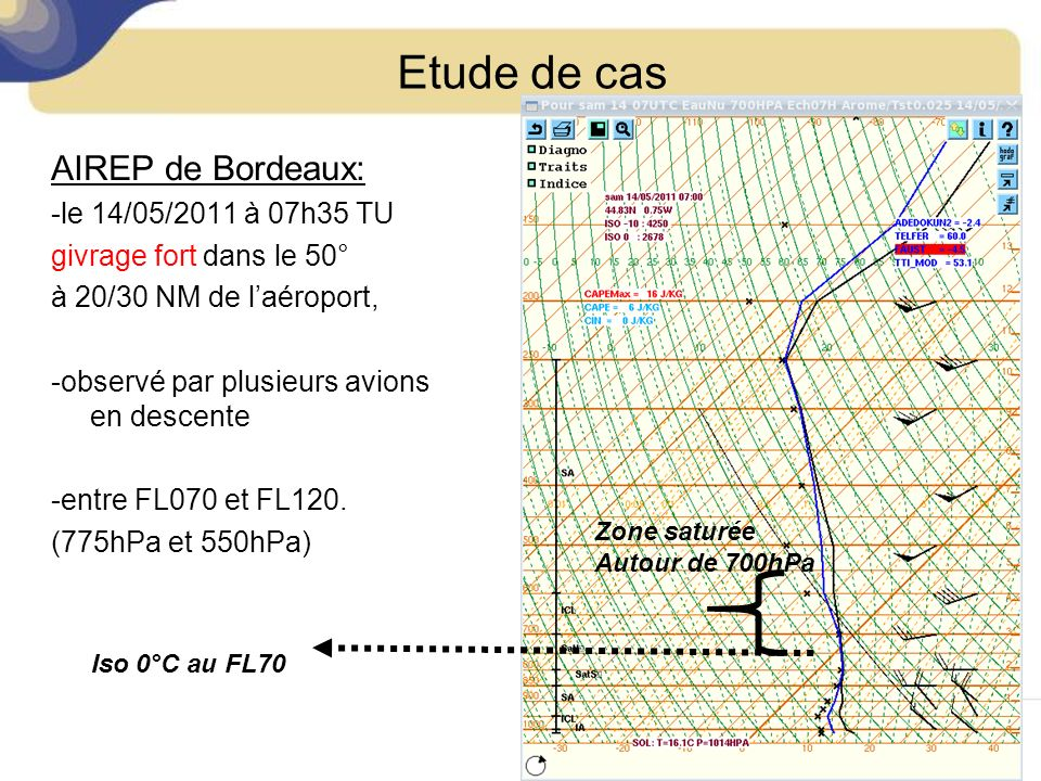 Etude de cas AIREP de Bordeaux: -le 14/05/2011 à 07h35 TU givrage fort dans le 50° à 20/30 NM de laéroport, -observé par plusieurs avions en descente
