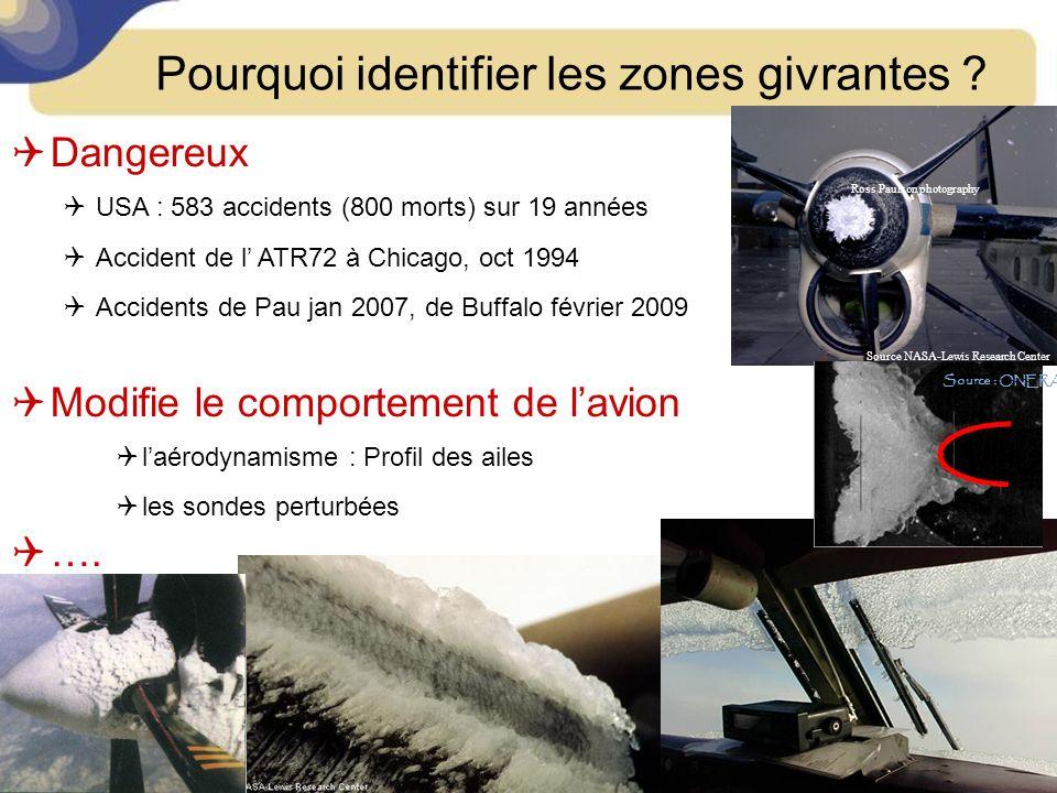 Pourquoi identifier les zones givrantes ? Dangereux USA : 583 accidents (800 morts) sur 19 années Accident de l ATR72 à Chicago, oct 1994 Accidents de