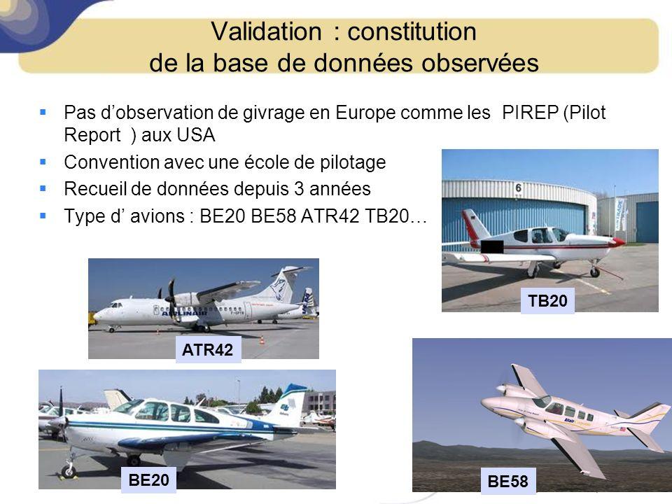 Validation : constitution de la base de données observées Pas dobservation de givrage en Europe comme les PIREP (Pilot Report ) aux USA Convention ave