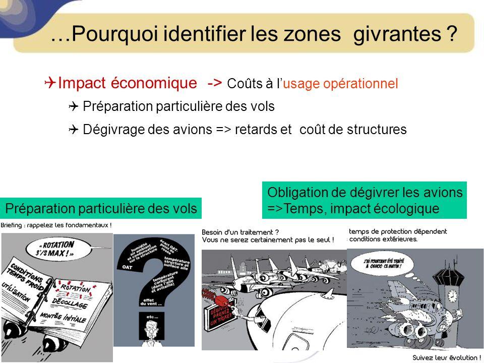 …Pourquoi identifier les zones givrantes ? Impact économique -> Coûts à lusage opérationnel Préparation particulière des vols Dégivrage des avions =>