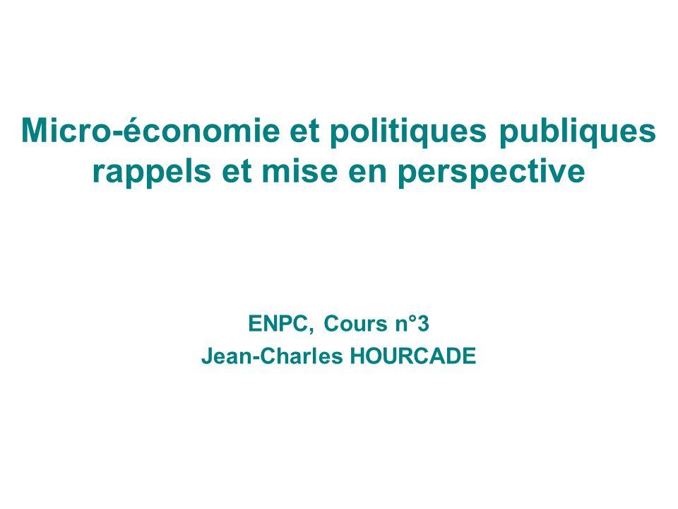Micro-économie et politiques publiques rappels et mise en perspective ENPC, Cours n°3 Jean-Charles HOURCADE