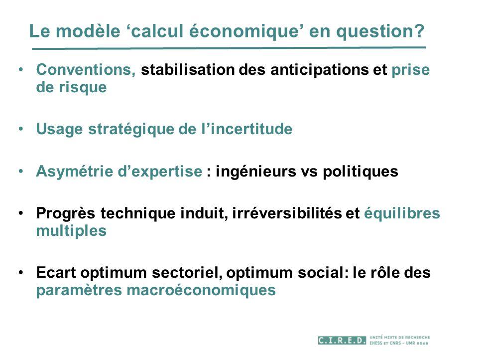 Le modèle calcul économique en question? Conventions, stabilisation des anticipations et prise de risque Usage stratégique de lincertitude Asymétrie d