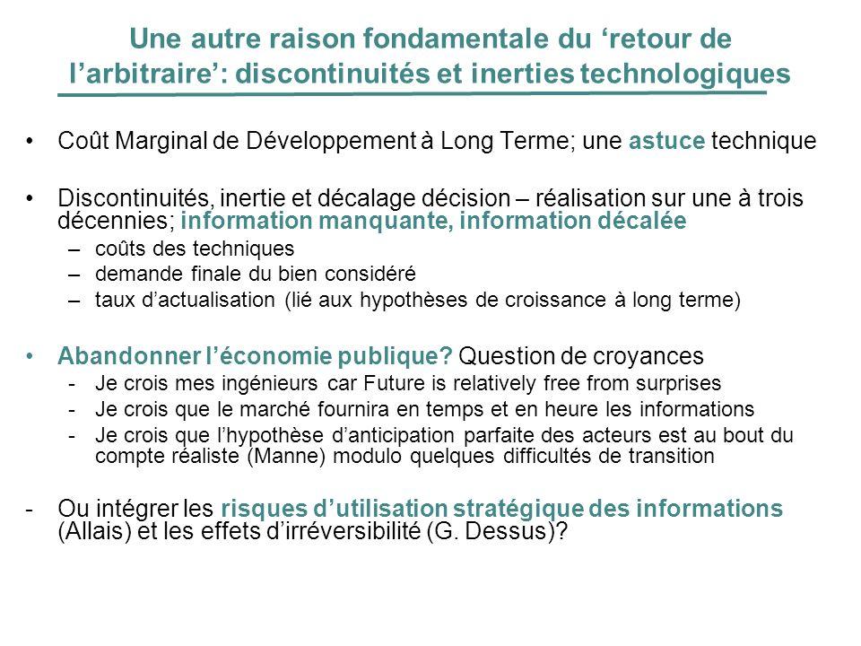 Une autre raison fondamentale du retour de larbitraire: discontinuités et inerties technologiques Coût Marginal de Développement à Long Terme; une ast