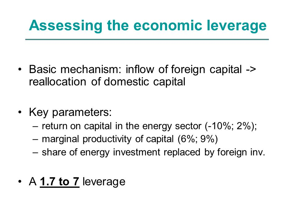 Assessing the economic leverage Basic mechanism: inflow of foreign capital -> reallocation of domestic capital Key parameters: –return on capital in the energy sector (-10%; 2%); –marginal productivity of capital (6%; 9%) –share of energy investment replaced by foreign inv.