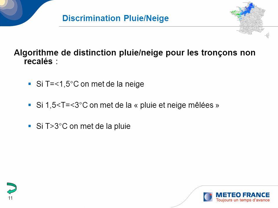 11 Discrimination Pluie/Neige Algorithme de distinction pluie/neige pour les tronçons non recalés : Si T=<1,5°C on met de la neige Si 1,5<T=<3°C on me
