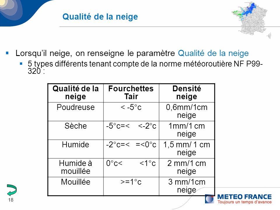 18 Qualité de la neige Lorsquil neige, on renseigne le paramètre Qualité de la neige 5 types différents tenant compte de la norme météoroutière NF P99