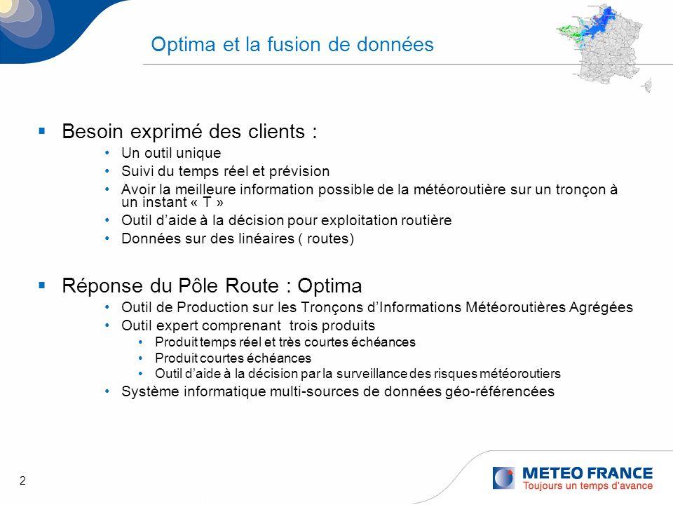 2 Optima et la fusion de données Besoin exprimé des clients : Un outil unique Suivi du temps réel et prévision Avoir la meilleure information possible