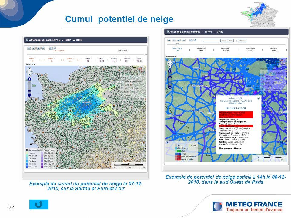 22 Cumul potentiel de neige Exemple de potentiel de neige estim é à 14h le 08-12- 2010, dans le sud Ouest de Paris Exemple de cumul du potentiel de ne