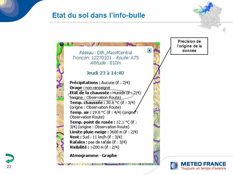 23 Etat du sol dans linfo-bulle Précision de lorigine de la donnée