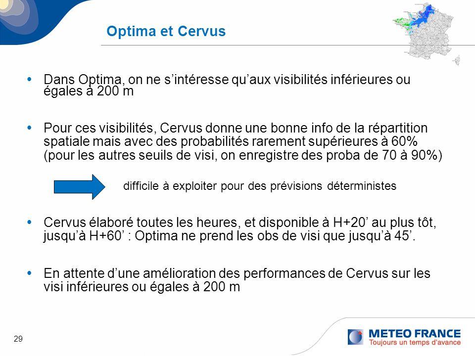 29 Optima et Cervus Dans Optima, on ne sintéresse quaux visibilités inférieures ou égales à 200 m Pour ces visibilités, Cervus donne une bonne info de