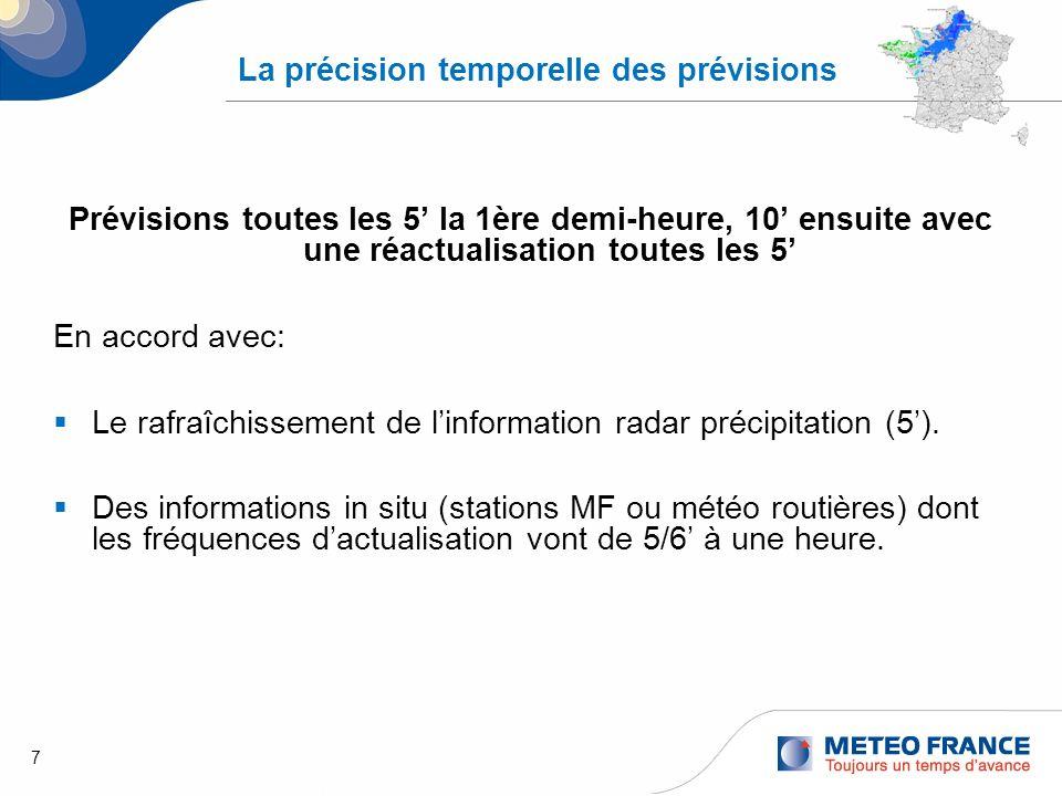 7 La précision temporelle des prévisions Prévisions toutes les 5 la 1ère demi-heure, 10 ensuite avec une réactualisation toutes les 5 En accord avec: