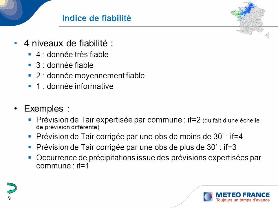 9 Indice de fiabilité 4 niveaux de fiabilité : 4 : donnée très fiable 3 : donnée fiable 2 : donnée moyennement fiable 1 : donnée informative Exemples