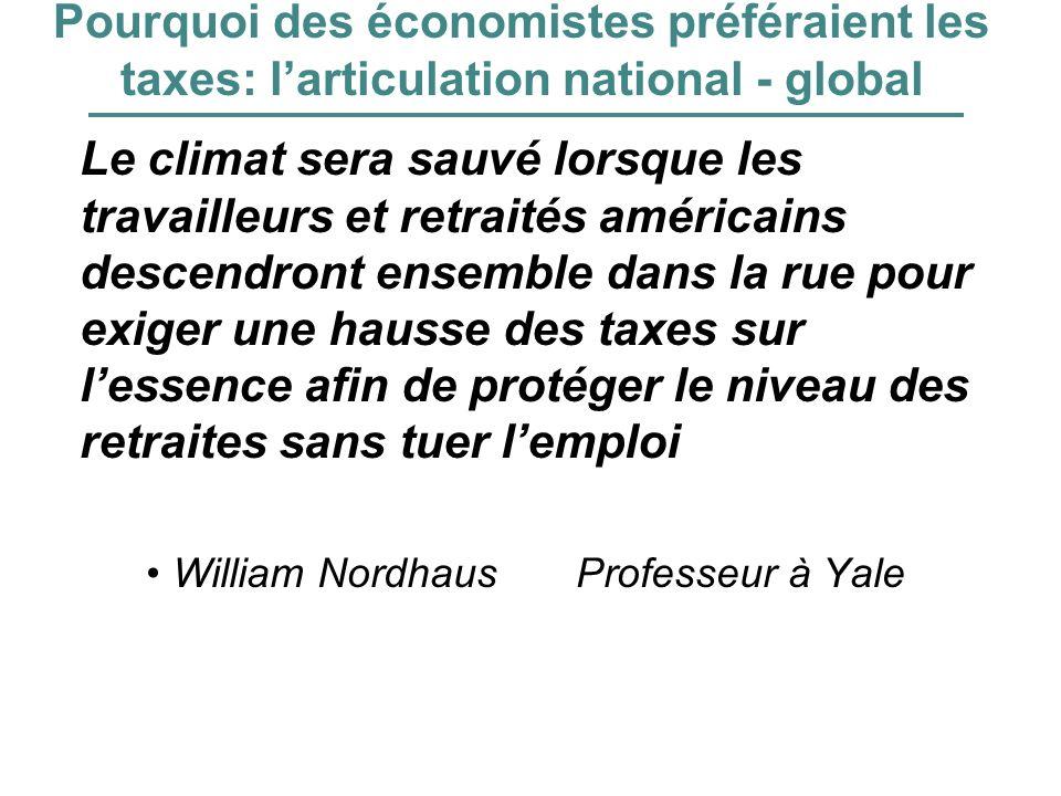 Pourquoi des économistes préféraient les taxes: larticulation national - global Le climat sera sauvé lorsque les travailleurs et retraités américains