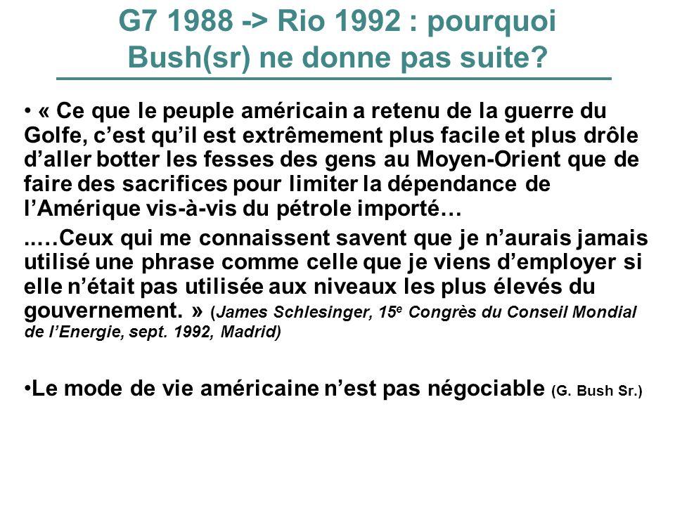 G7 1988 -> Rio 1992 : pourquoi Bush(sr) ne donne pas suite? « Ce que le peuple américain a retenu de la guerre du Golfe, cest quil est extrêmement plu