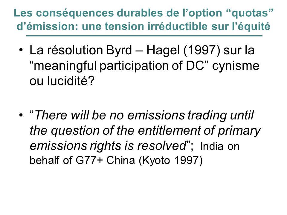 Les conséquences durables de loption quotas démission: une tension irréductible sur léquité La résolution Byrd – Hagel (1997) sur la meaningful partic