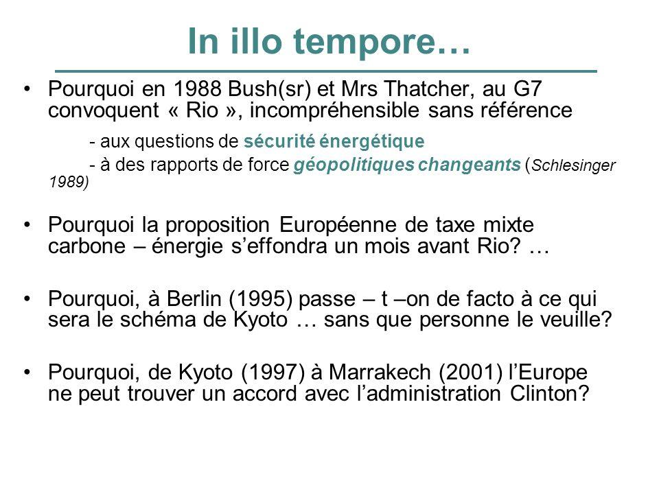In illo tempore… Pourquoi en 1988 Bush(sr) et Mrs Thatcher, au G7 convoquent « Rio », incompréhensible sans référence - aux questions de sécurité éner