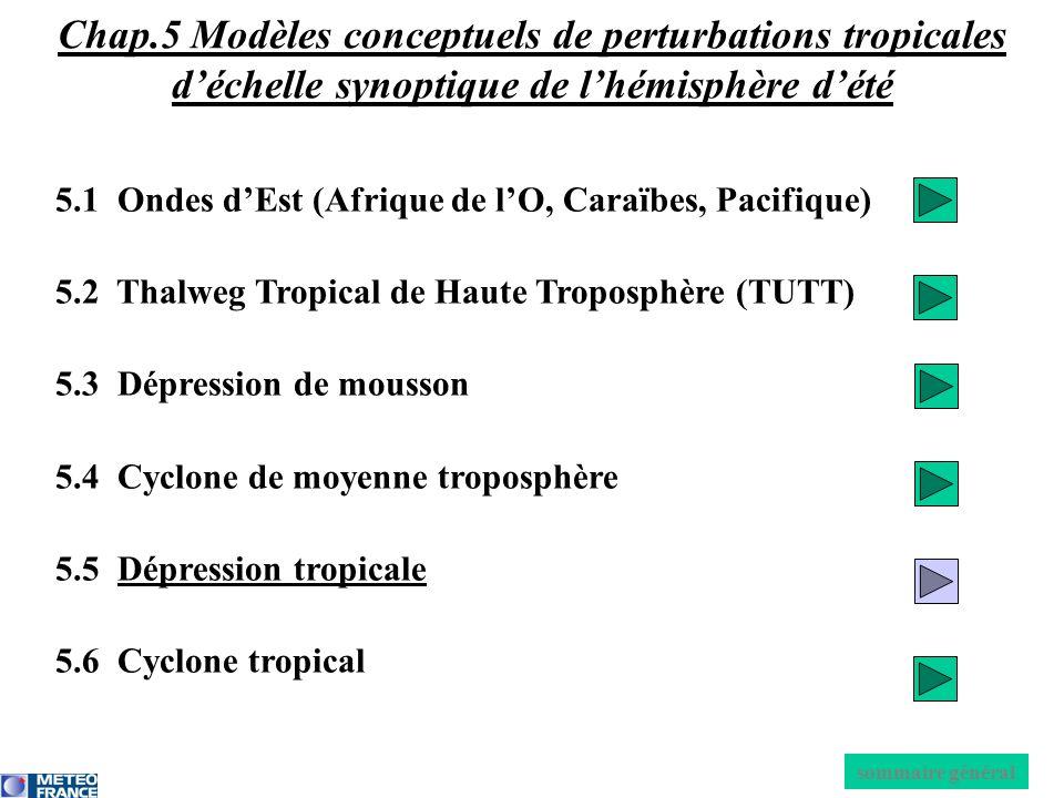 5.1 Ondes dEst (Afrique de lO, Caraïbes, Pacifique) 5.2 Thalweg Tropical de Haute Troposphère (TUTT) 5.3 Dépression de mousson 5.4 Cyclone de moyenne