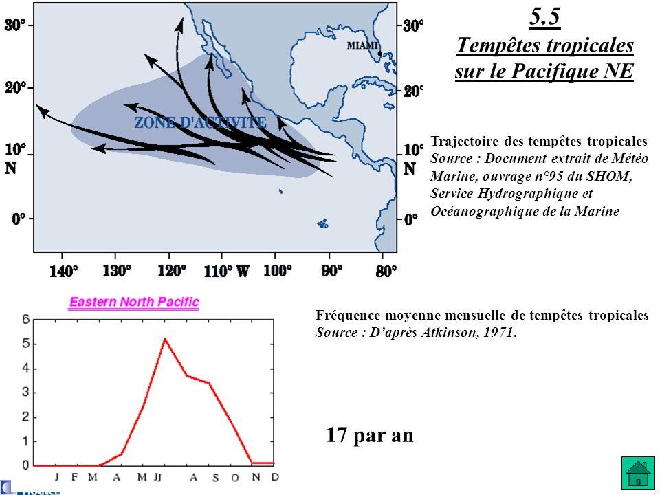 17 par an 5.5 Tempêtes tropicales sur le Pacifique NE Fréquence moyenne mensuelle de tempêtes tropicales Source : Daprès Atkinson, 1971. Trajectoire d