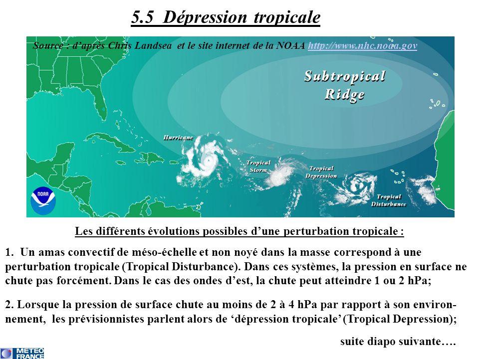 Les différents évolutions possibles dune perturbation tropicale : 1. Un amas convectif de méso-échelle et non noyé dans la masse correspond à une pert