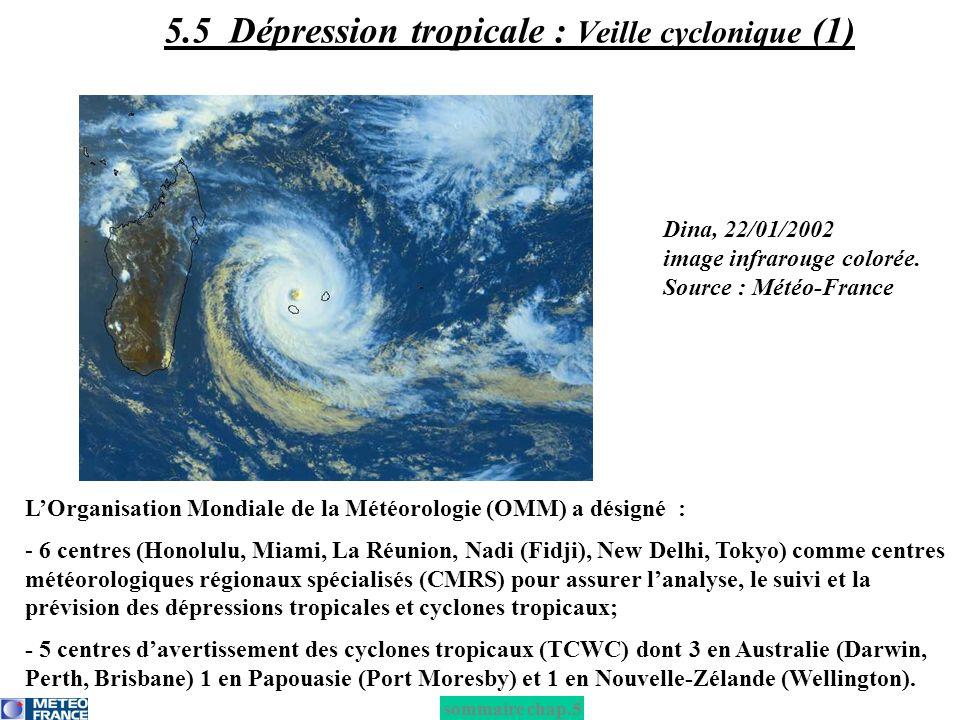 Dina, 22/01/2002 image infrarouge colorée. Source : Météo-France LOrganisation Mondiale de la Météorologie (OMM) a désigné : - 6 centres (Honolulu, Mi