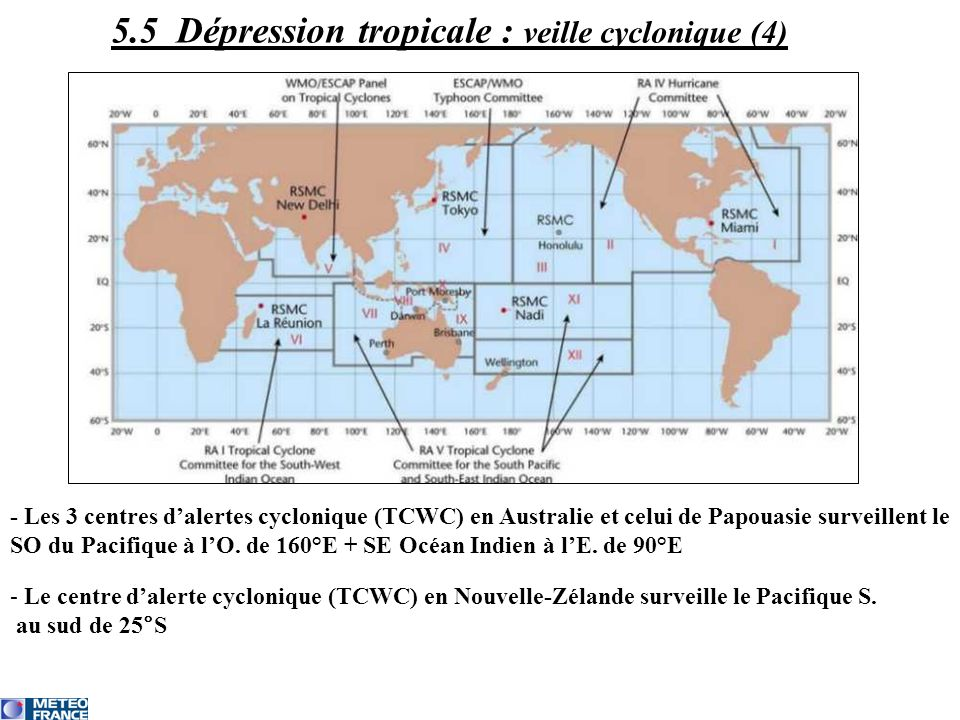 - Les 3 centres dalertes cyclonique (TCWC) en Australie et celui de Papouasie surveillent le SO du Pacifique à lO. de 160°E + SE Océan Indien à lE. de