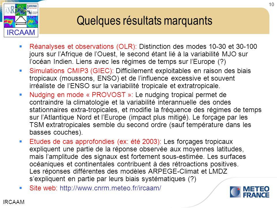 IRCAAM 10 Quelques résultats marquants Réanalyses et observations (OLR): Distinction des modes 10-30 et 30-100 jours sur lAfrique de lOuest, le second