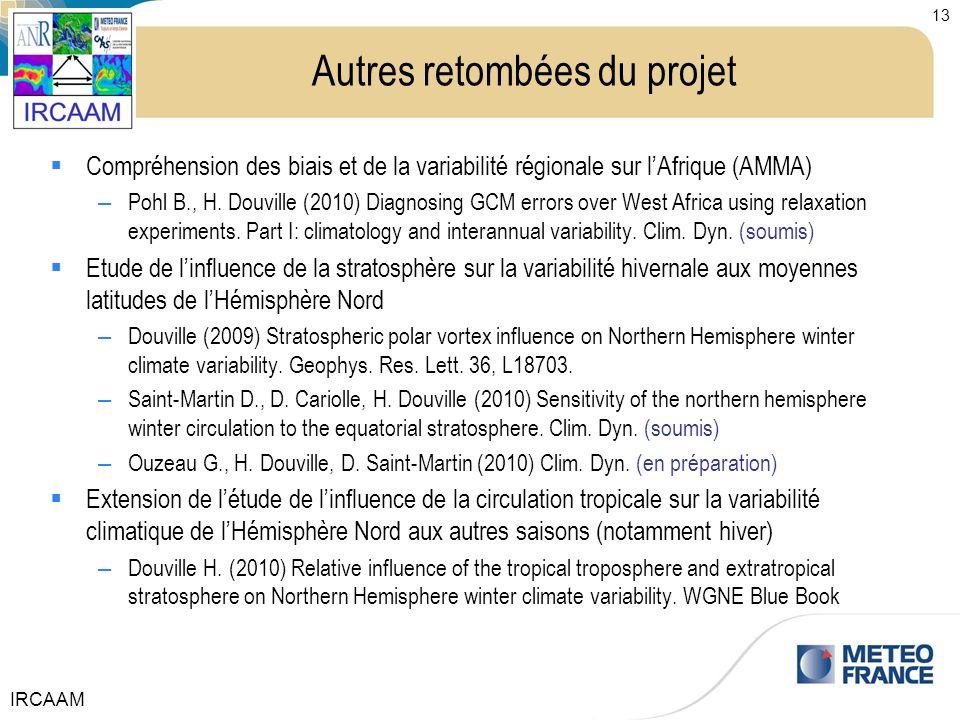 IRCAAM 13 Autres retombées du projet Compréhension des biais et de la variabilité régionale sur lAfrique (AMMA) – Pohl B., H. Douville (2010) Diagnosi