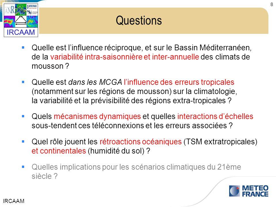 IRCAAM 8 Questions Quelle est linfluence réciproque, et sur le Bassin Méditerranéen, de la variabilité intra-saisonnière et inter-annuelle des climats