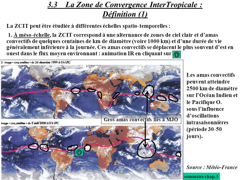 La ZCIT peut être étudiée à différentes échelles spatio-temporelles : 1. À méso-échelle, la ZCIT correspond à une alternance de zones de ciel clair et