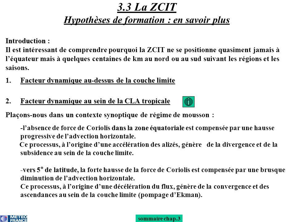 sommaire chap.3 Introduction : Il est intéressant de comprendre pourquoi la ZCIT ne se positionne quasiment jamais à léquateur mais à quelques centain