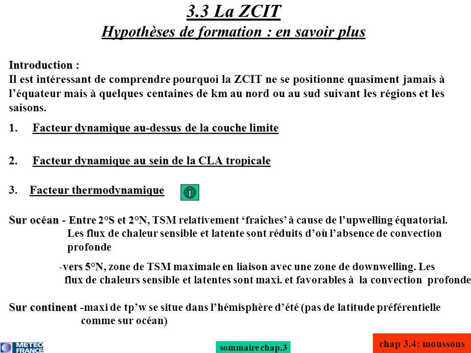 chap 3.4: moussons sommaire chap.3 Facteur thermodynamique 3. Facteur thermodynamique Sur océan Entre 2°S et 2°N Sur océan - Entre 2°S et 2°N, TSM rel