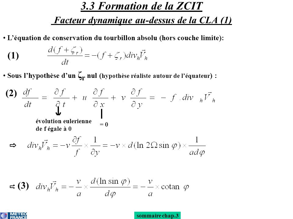 sommaire chap.3 Léquation de conservation du tourbillon absolu (hors couche limite): 3.3 Formation de la ZCIT Facteur dynamique au-dessus de la CLA (1