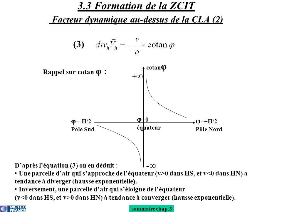 Daprès léquation (3) on en déduit : Une parcelle dair qui sapproche de léquateur (v>0 dans HS, et v<0 dans HN) a tendance à diverger (hausse exponenti