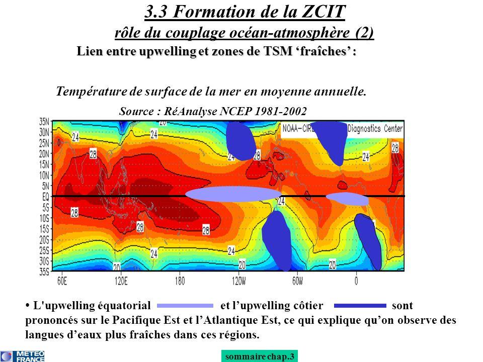 3.3 Formation de la ZCIT rôle du couplage océan-atmosphère (2) L'upwelling équatorial et lupwelling côtier sont prononcés sur le Pacifique Est et lAtl