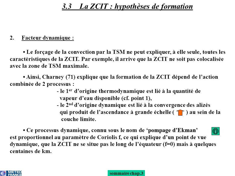 3.3 La ZCIT : hypothèses de formation 2.Facteur dynamique : Le forçage de la convection par la TSM ne peut expliquer, à elle seule, toutes les caracté
