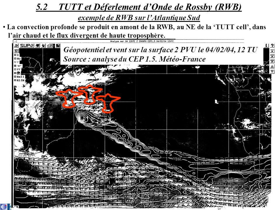 La convection profonde se produit en amont de la RWB, au NE de la TUTT cell, dans lair chaud et le flux divergent de haute troposphère. 5.2 TUTT et Dé