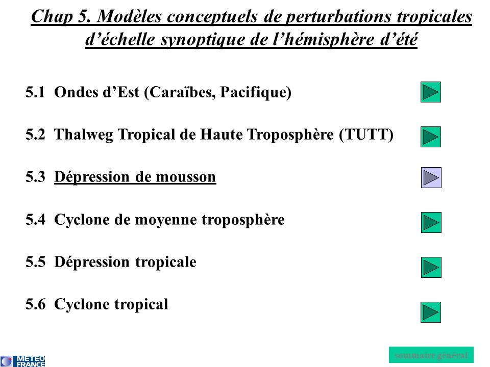 5.1 Ondes dEst (Caraïbes, Pacifique) 5.2 Thalweg Tropical de Haute Troposphère (TUTT) 5.3 Dépression de mousson 5.4 Cyclone de moyenne troposphère 5.5