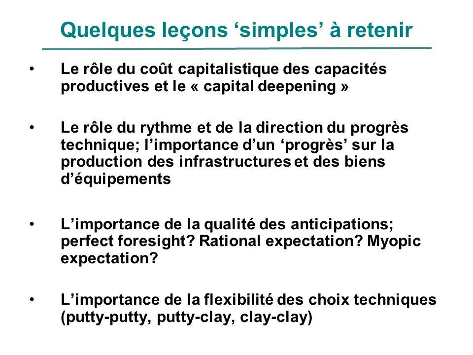 Quelques leçons simples à retenir Le rôle du coût capitalistique des capacités productives et le « capital deepening » Le rôle du rythme et de la dire