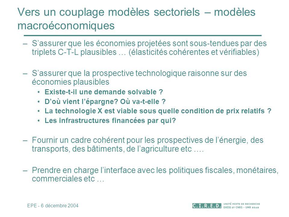 Vers un couplage modèles sectoriels – modèles macroéconomiques –Sassurer que les économies projetées sont sous-tendues par des triplets C-T-L plausibl