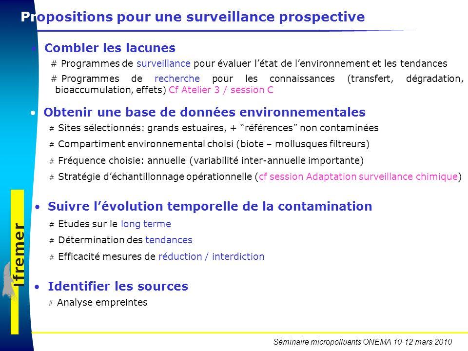 Séminaire micropolluants ONEMA 10-12 mars 2010 Combler les lacunes # Programmes de surveillance pour évaluer létat de lenvironnement et les tendances
