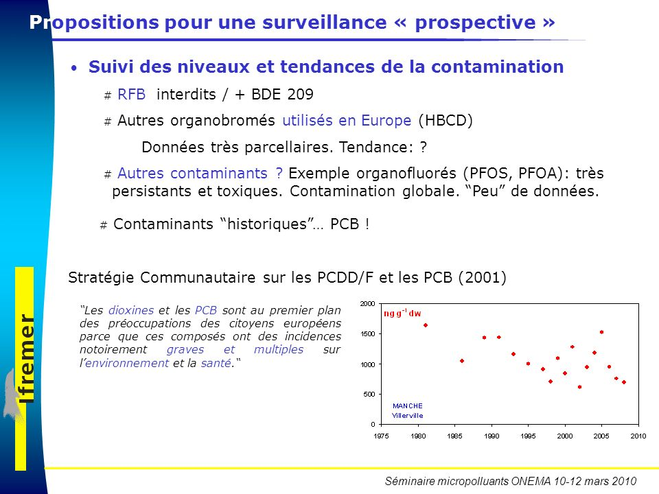 Séminaire micropolluants ONEMA 10-12 mars 2010 Propositions pour une surveillance « prospective » Suivi des niveaux et tendances de la contamination #