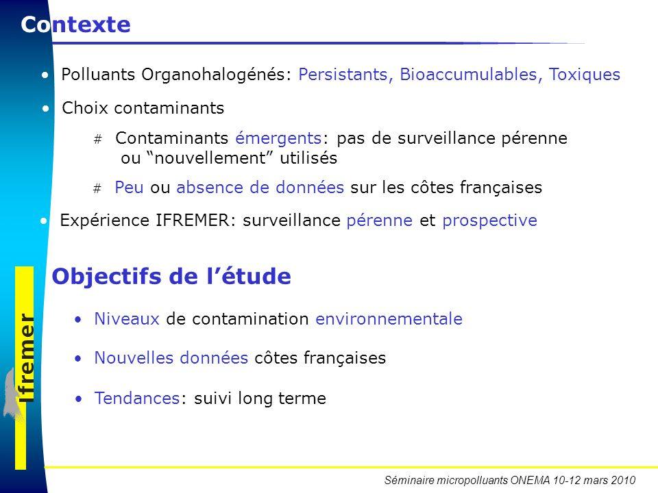 Séminaire micropolluants ONEMA 10-12 mars 2010 Contexte Polluants Organohalogénés: Persistants, Bioaccumulables, Toxiques Expérience IFREMER: surveill