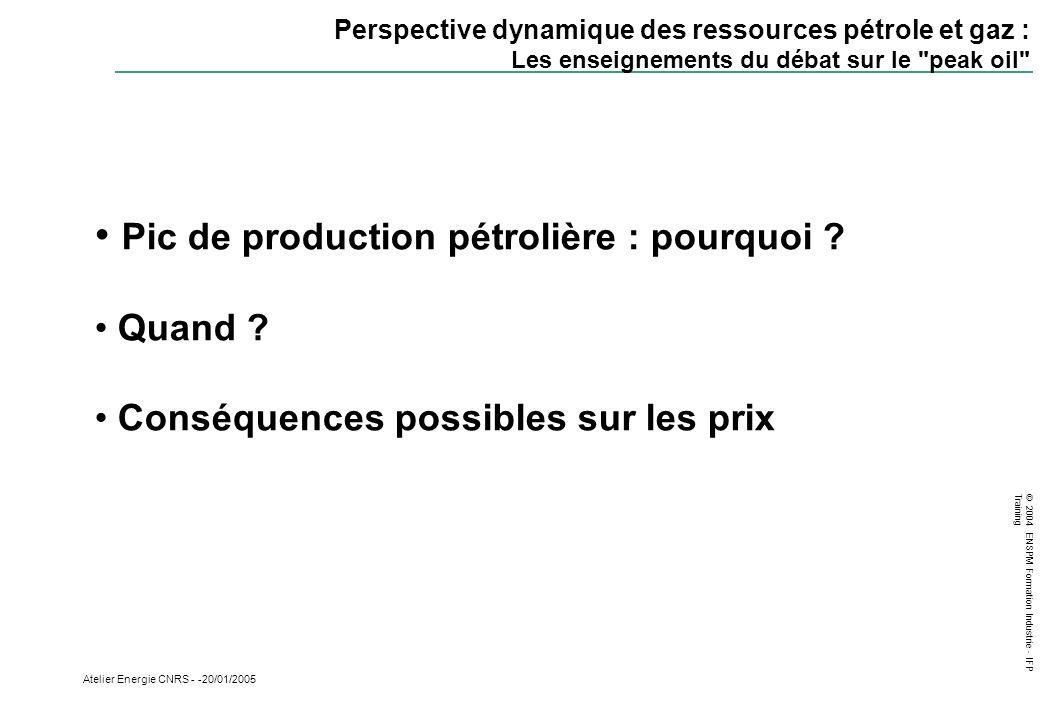 © 2004 ENSPM Formation Industrie - IFP Training Atelier Energie CNRS - -20/01/2005 Perspective dynamique des ressources pétrole et gaz : Les enseignem