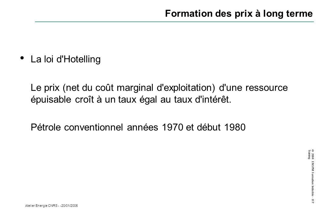 © 2004 ENSPM Formation Industrie - IFP Training Atelier Energie CNRS - -20/01/2005 Formation des prix à long terme La loi d'Hotelling Le prix (net du