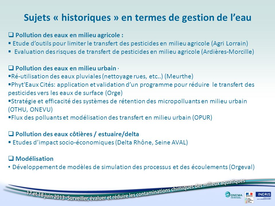 Pollution des eaux en milieu agricole : Etude doutils pour limiter le transfert des pesticides en milieu agricole (Agri Lorrain) Evaluation des risque