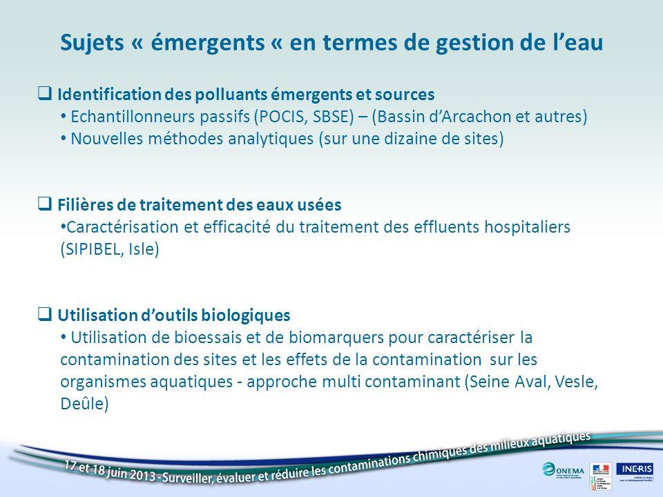 Identification des polluants émergents et sources Echantillonneurs passifs (POCIS, SBSE) – (Bassin dArcachon et autres) Nouvelles méthodes analytiques
