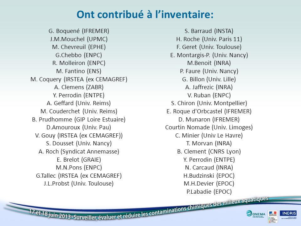 Ont contribué à linventaire: G. Boquené (IFREMER) J.M.Mouchel (UPMC) M. Chevreuil (EPHE) G.Chebbo (ENPC) R. Molleiron (ENPC) M. Fantino (ENS) M. Coque